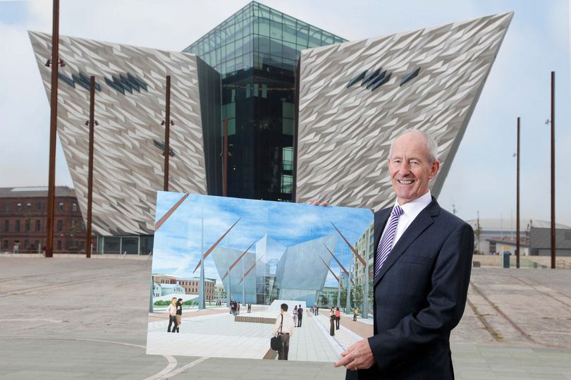 Pictured with an original CGI of Titanic Belfast in front of the completed development is Conal Harvey, Titanic Quarter's Executive Vice Chairman