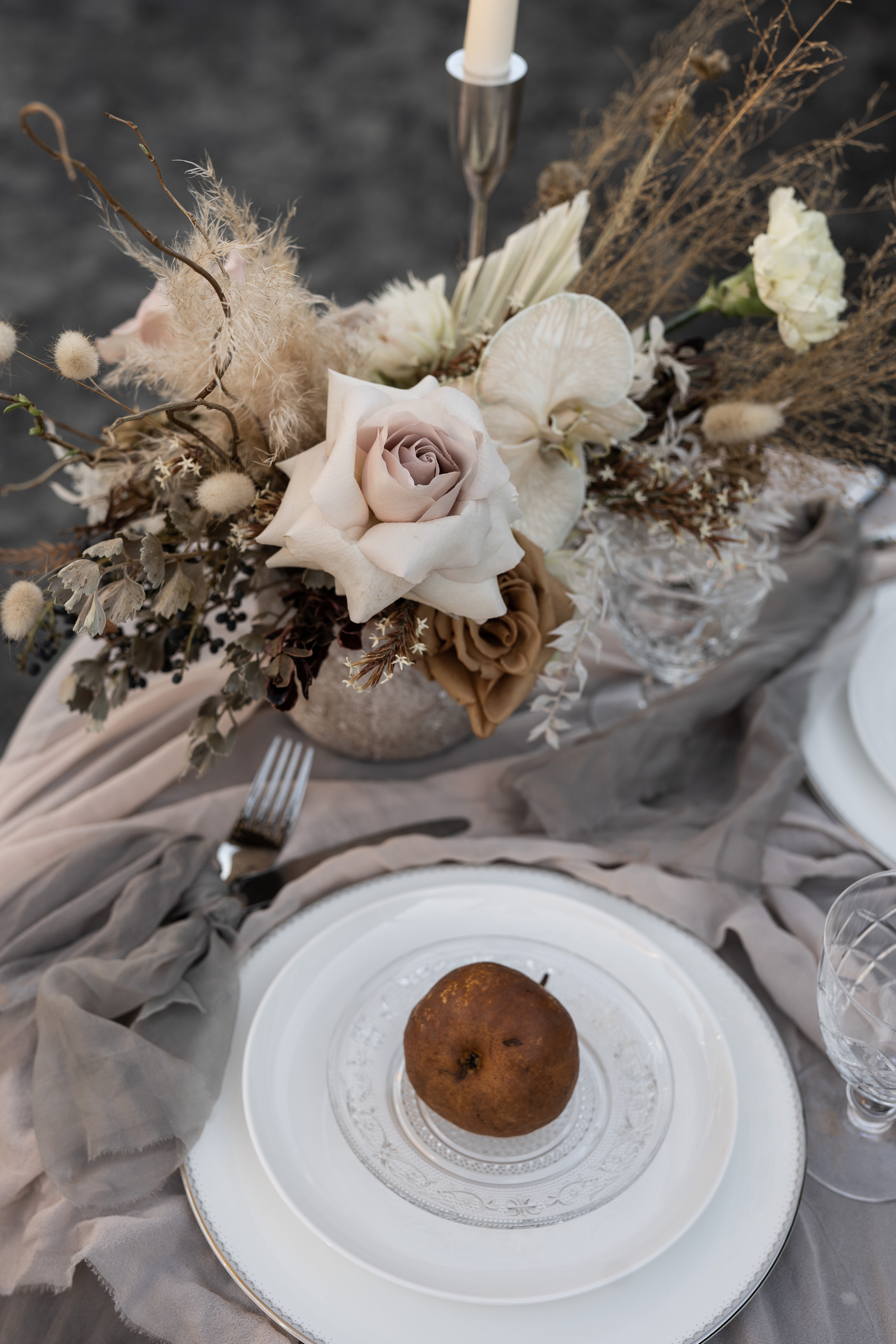 Dried Blush Flower Arrangement Table Setting