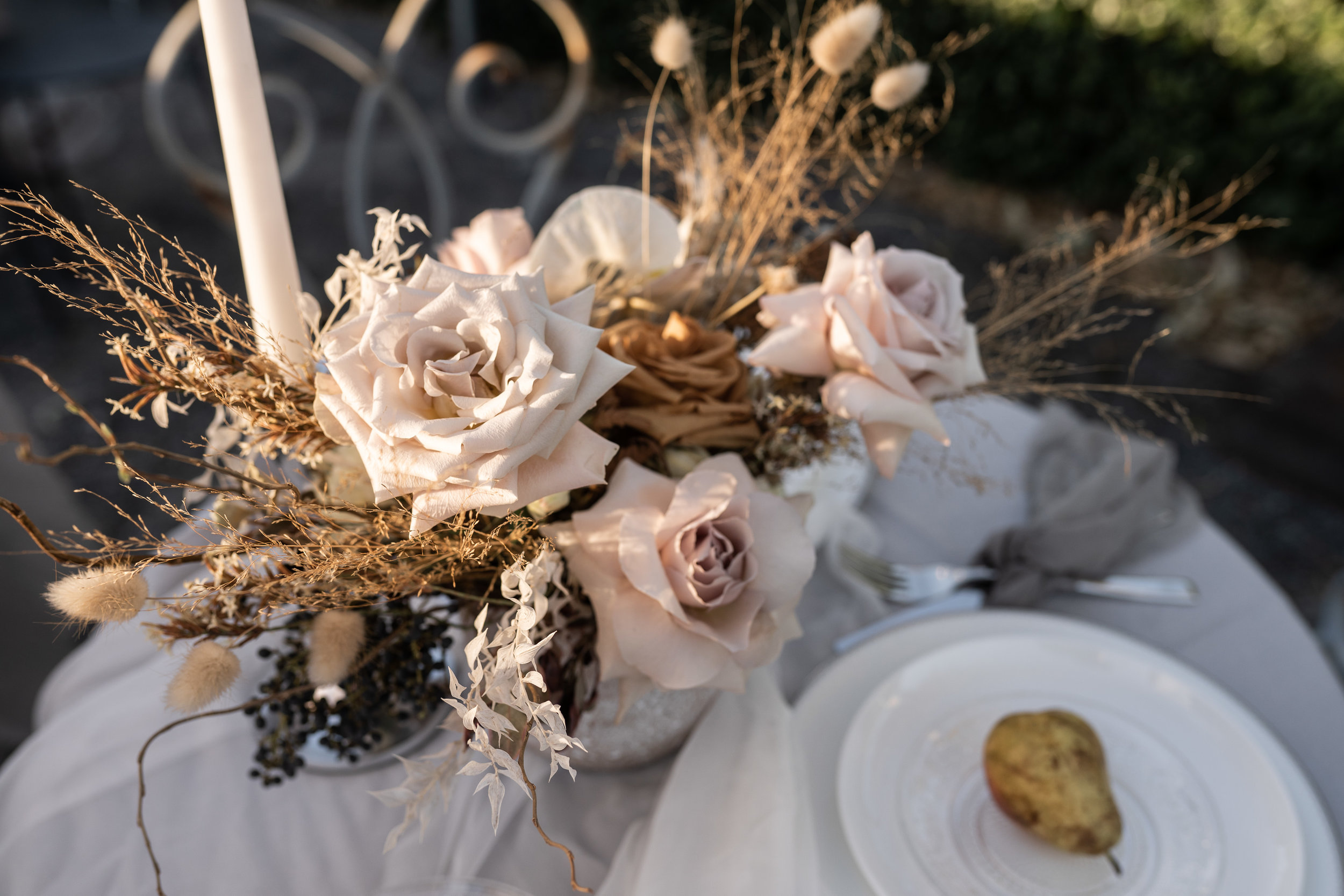 Dried Blush Flower Arrangement Table Setting Styled Shoot