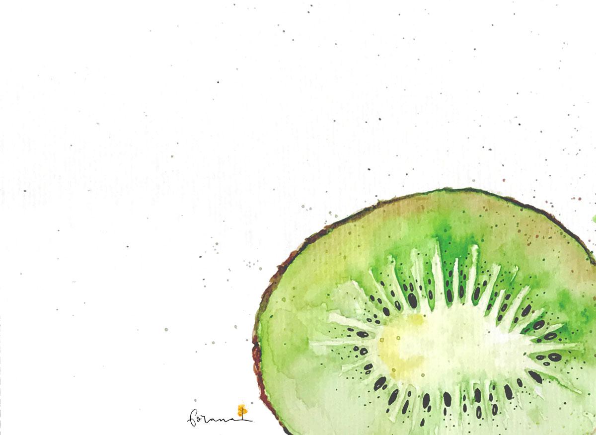 Schön und gesund - Kiwi---Minimal Watercolor Design
