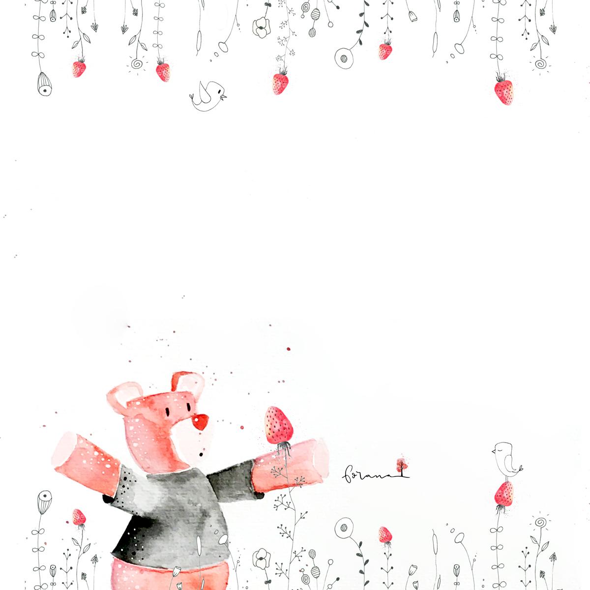 Teddy im Erdbeerblumenfeld - ---Minimal Watercolor Designund Fineliner