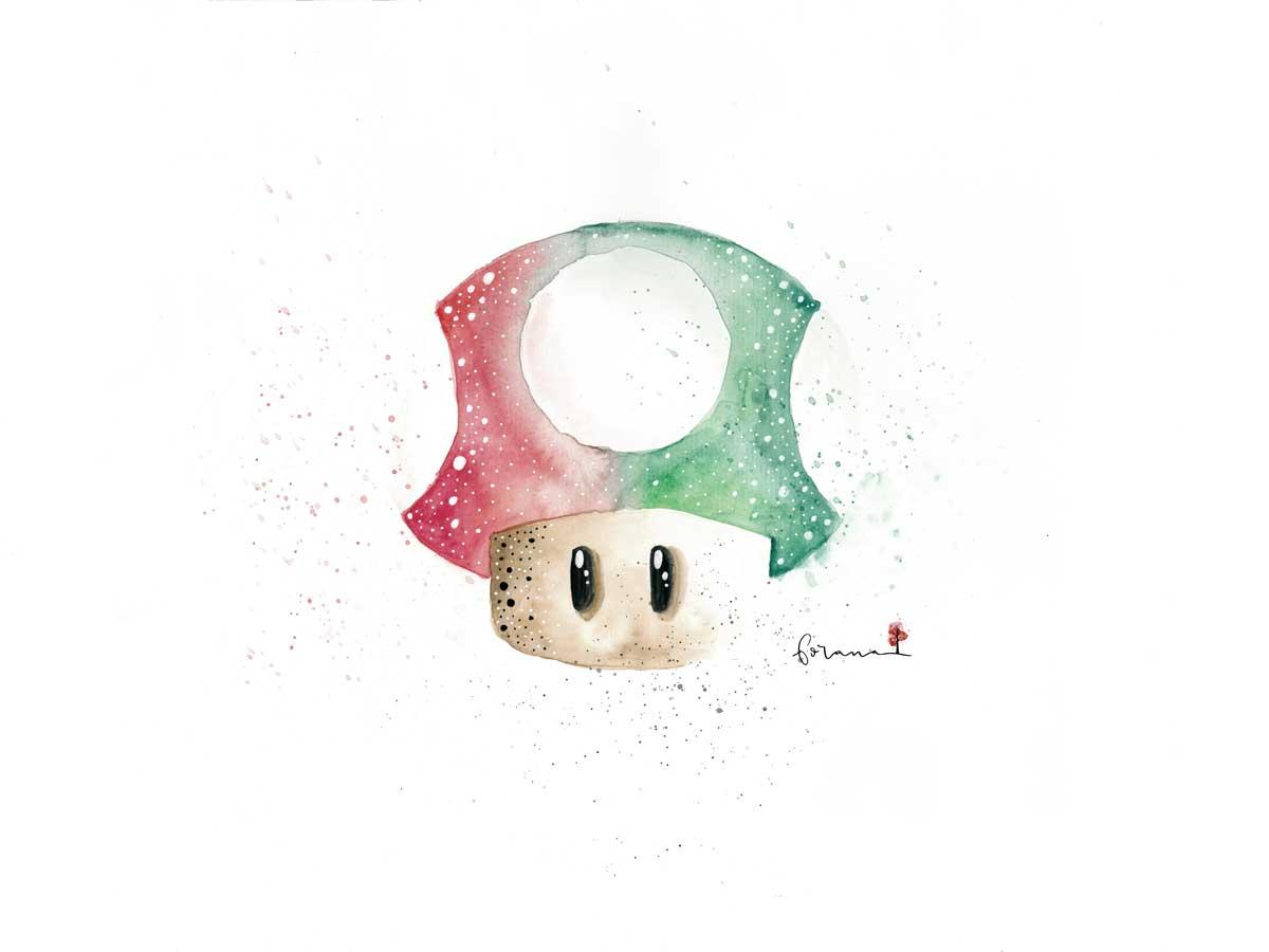 Dinge, die ich liebe - Nintendo Mushroom---Minimal Watercolor Design