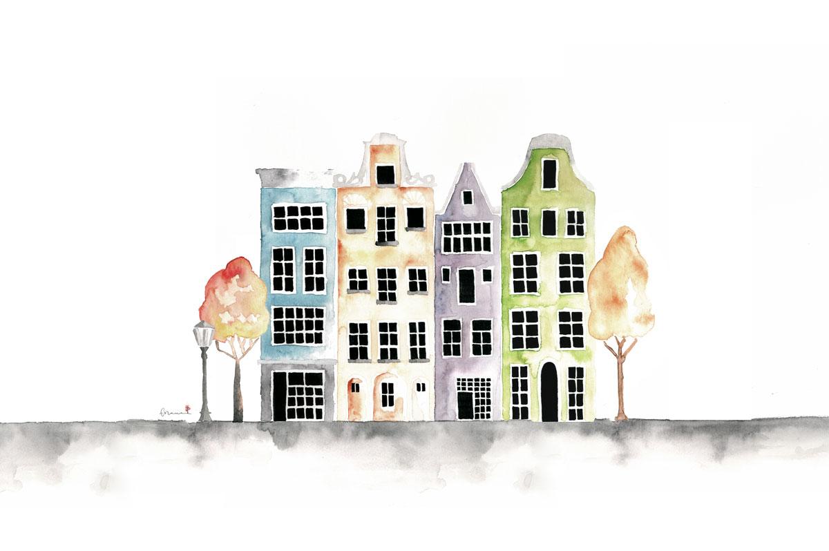 Inspiriert - durch meine Reise nach Amsterdam, ist dieses Projekt entstanden ... 1,2,3,4 ... es werden immer mehr.---Minimal Watercolor Designund Fineliner