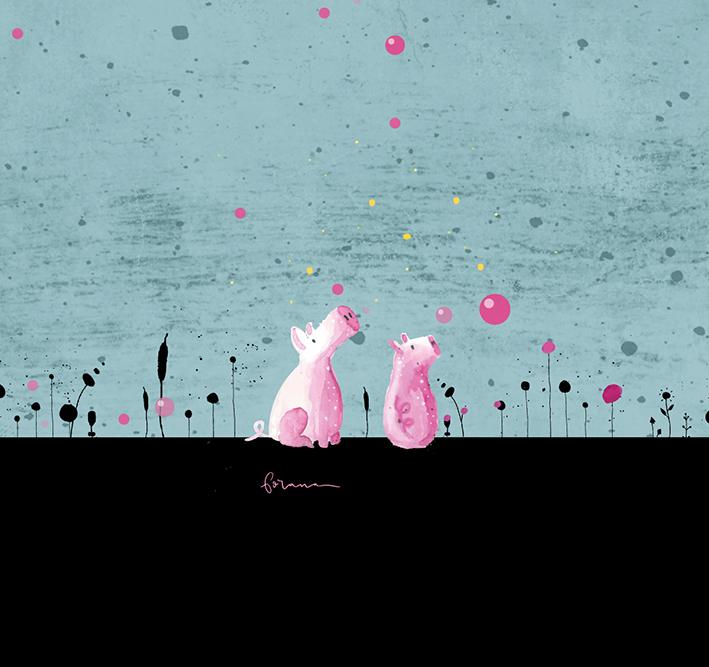 Paulas - kleine Schweinichen haben einen pinken Baum entdeckt---Minimal Watercolor Designund Minimal Vector Design