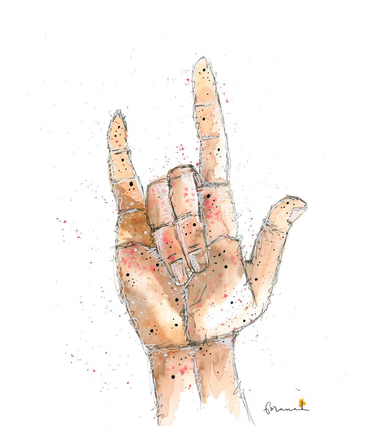 Ich bin ... - das Handzeichen für LIEBE---Watercolor Design