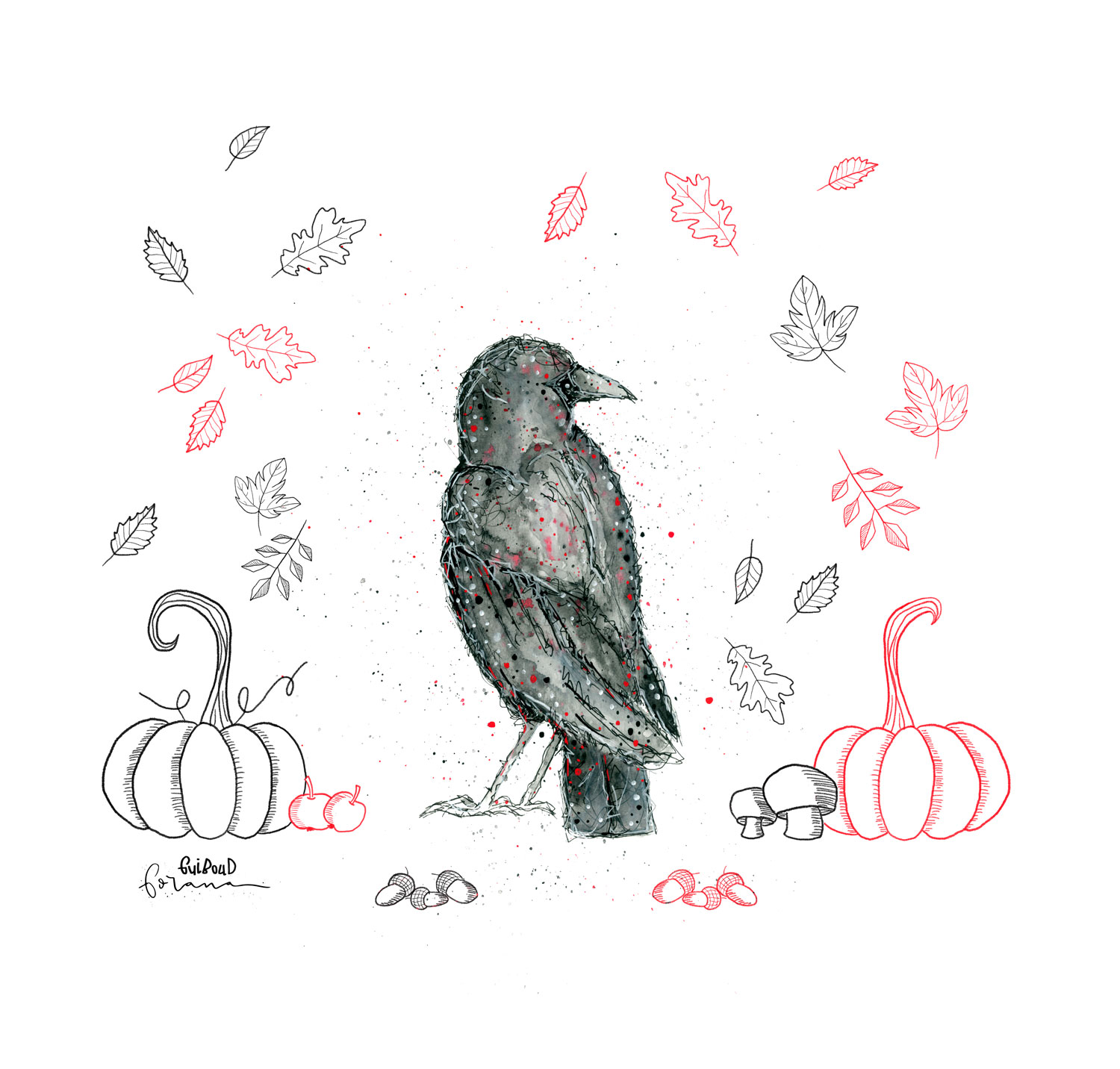 """Nevermore - Tell me what thy lordly name is on the Night's Plutonian shore!""""Quoth the raven """"Nevermore.""""---Watercolor Designund Fineliner"""