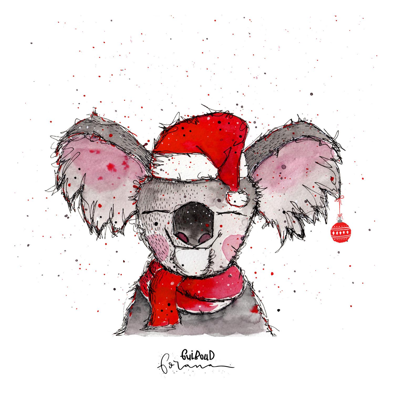 Ein Koala - zu Weihnachten---Aquarell und Fineliner
