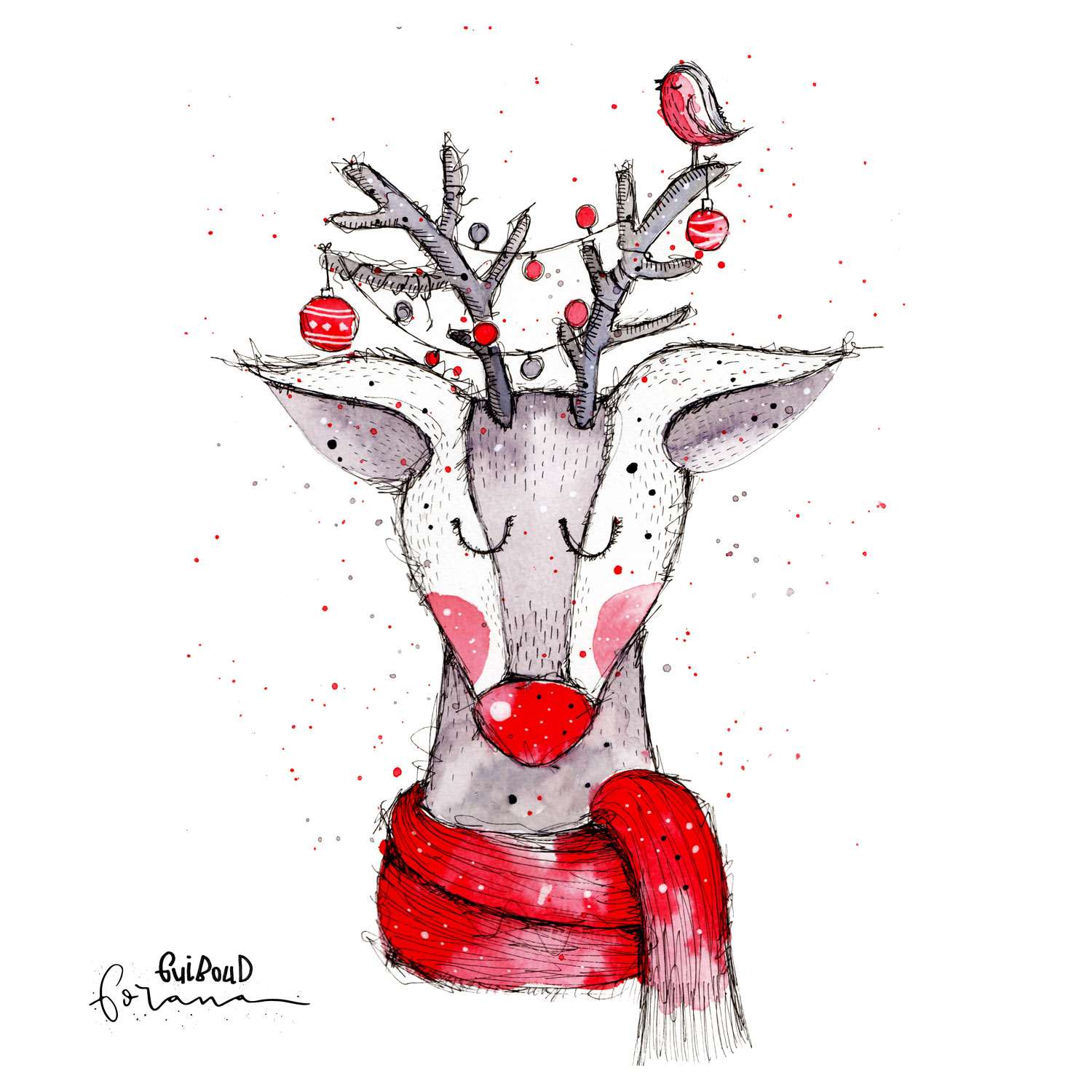 Rudolph - the red nosed reindeer---Aquarell und Fineliner