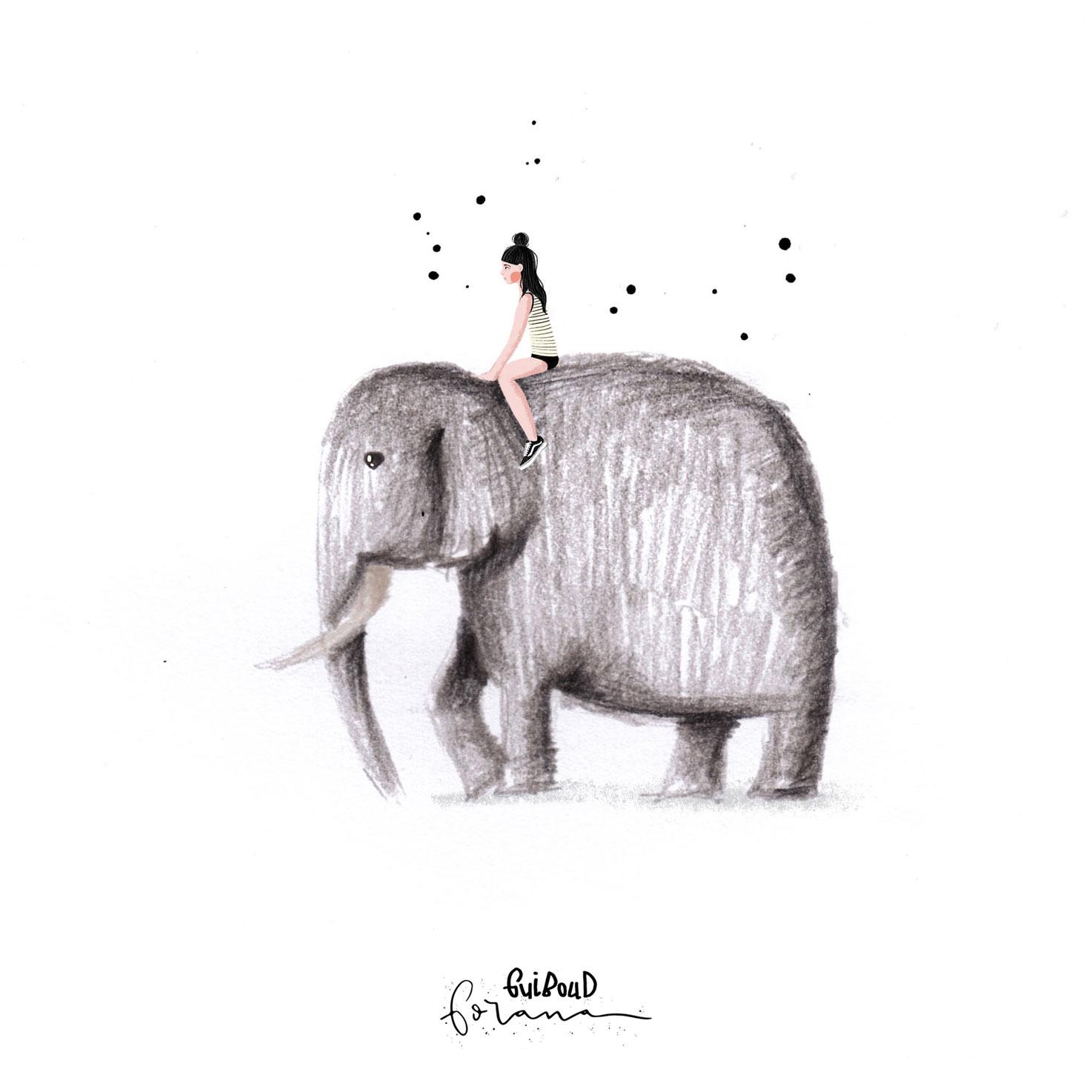 Elefant - ---Buntstifte und Photoshop am iPad mit Apple PencilEs geht ihr gut da oben, sie sieht die Welt aus einem anderen Blickwinkel und bewegt sich langsam aber sicher vorwärts ... dahin wo sie hin will. Sie kann den Weg in vollen entschleunigten Zügen genießen, ohne Eile aber mit Zuversicht. Was für ein Moment.
