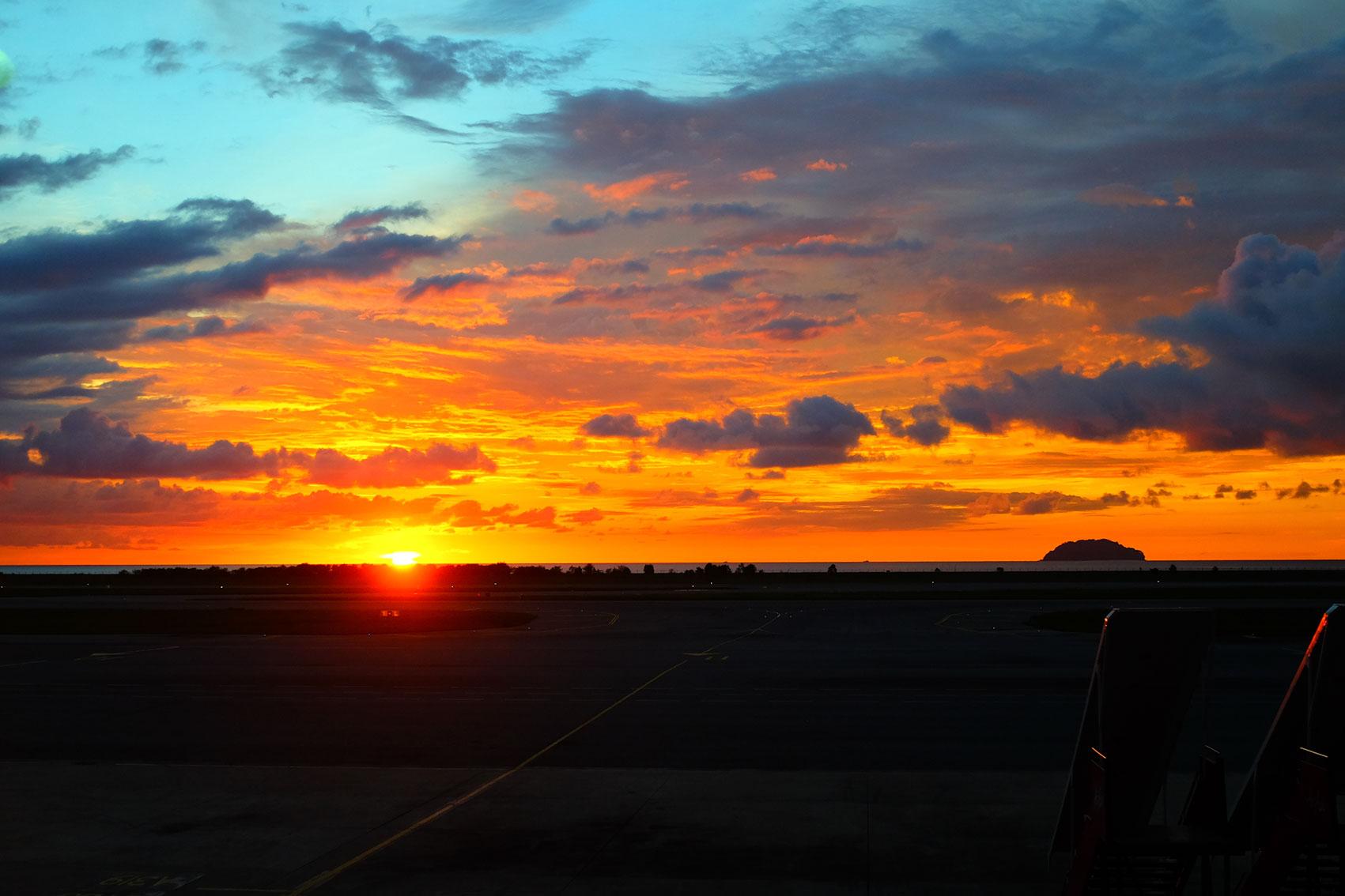 Kota Kinabalu airport sunset