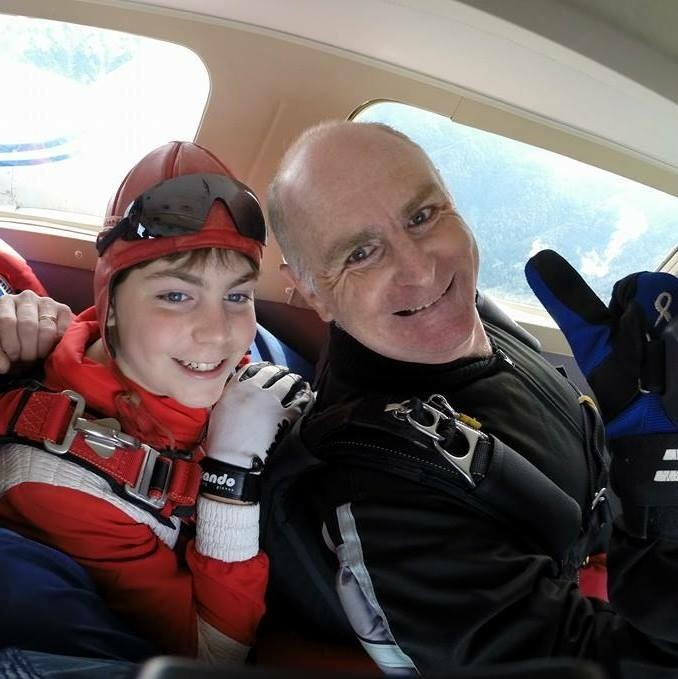 Peter Hayes and his son in 2014 skydiving in Slovenia