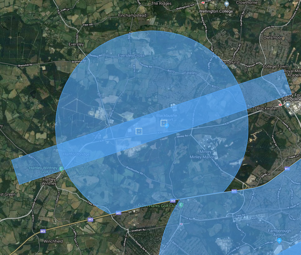 Image from dronesafe.uk Map from GoogleMaps
