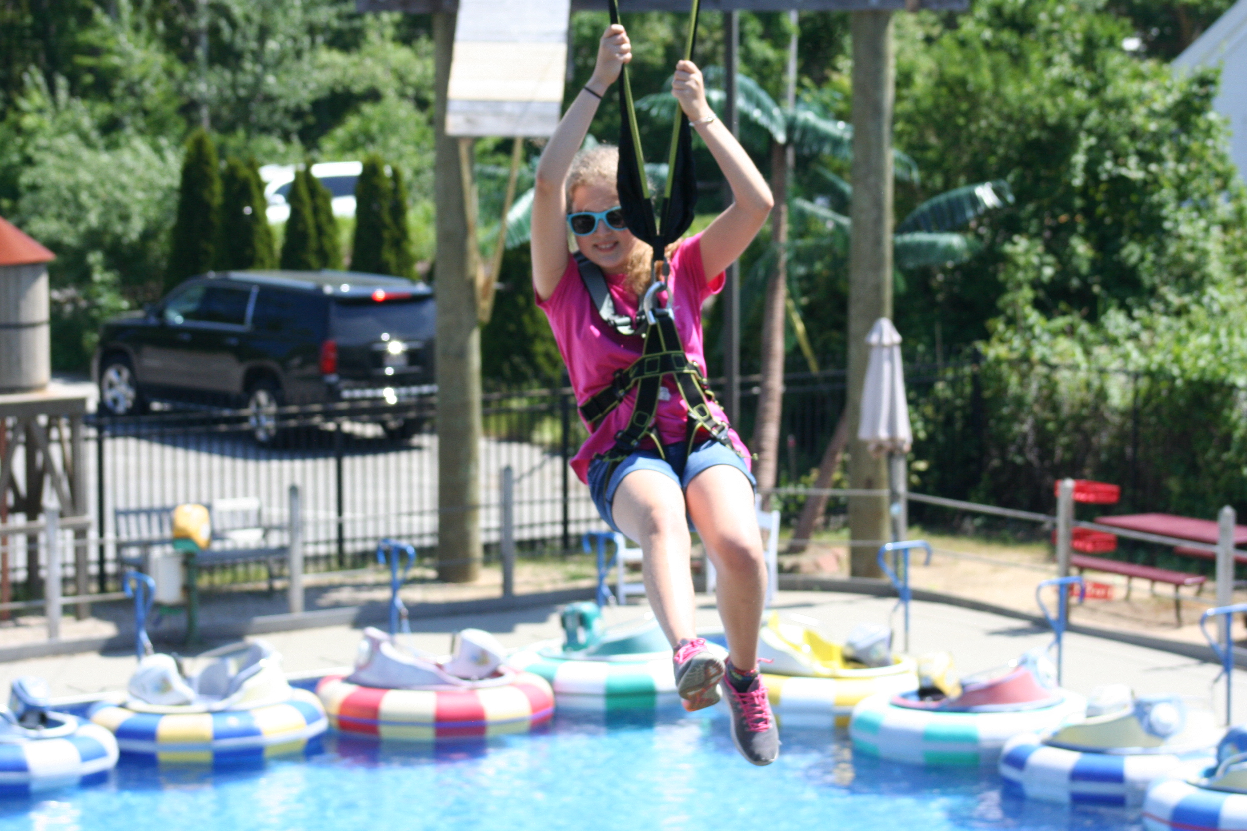 Zipline over the Cape's largest Bumper Boat Pool!