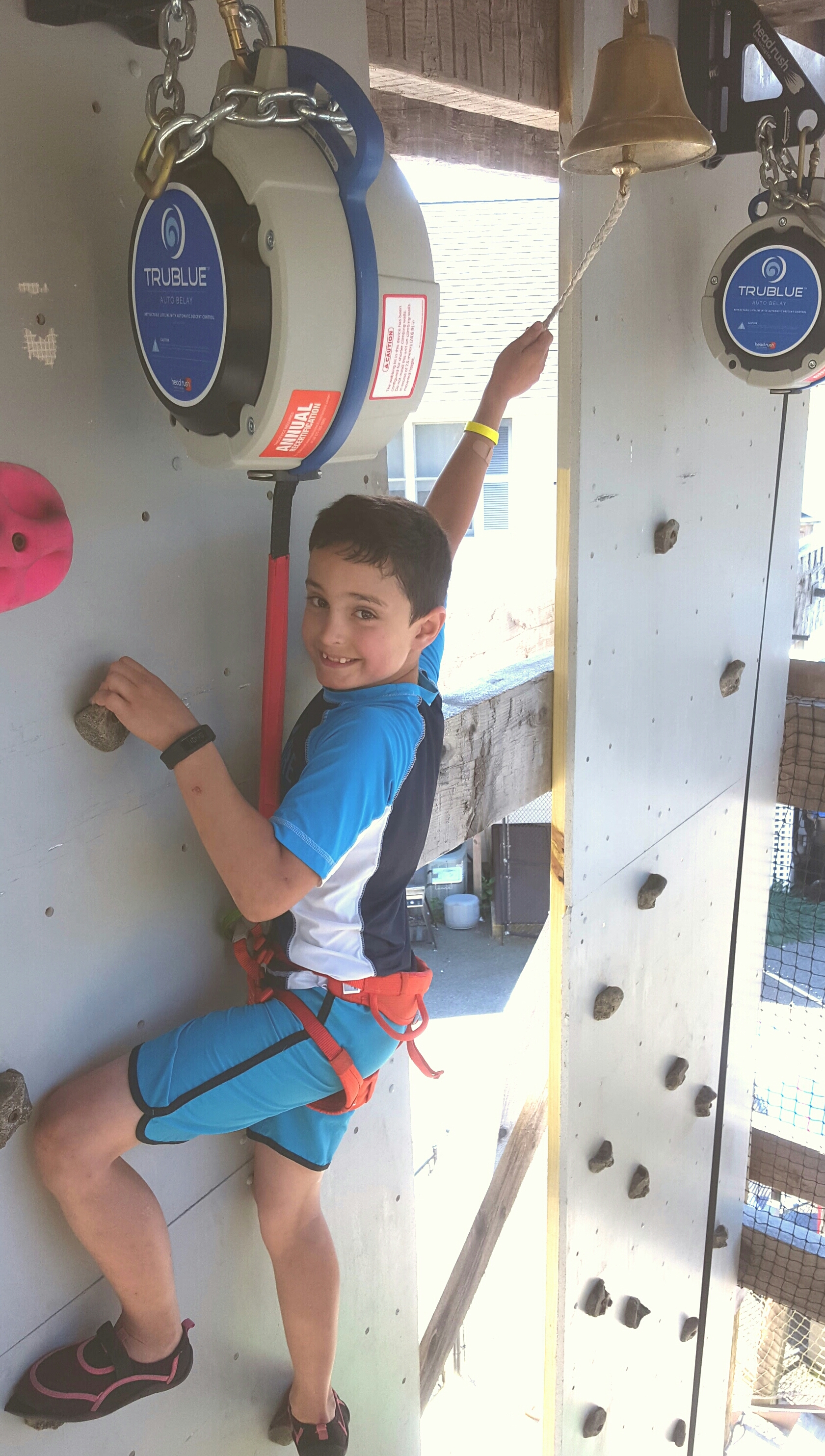 Rock Wall of fun! Ring the bell and win a free Batting Token!