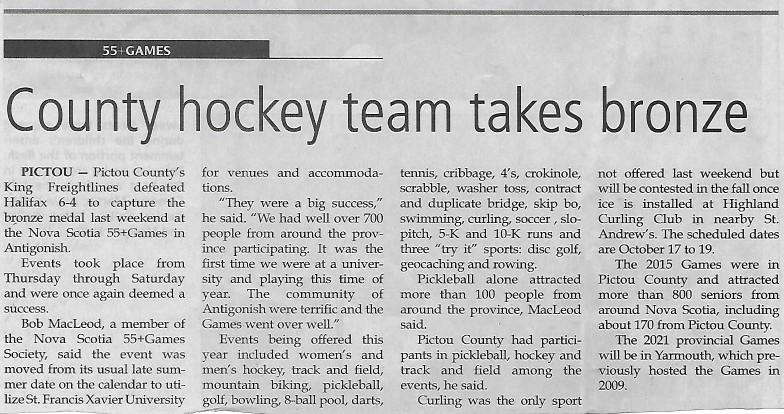 Taken from Pictou Advocate, August 7, 2019.