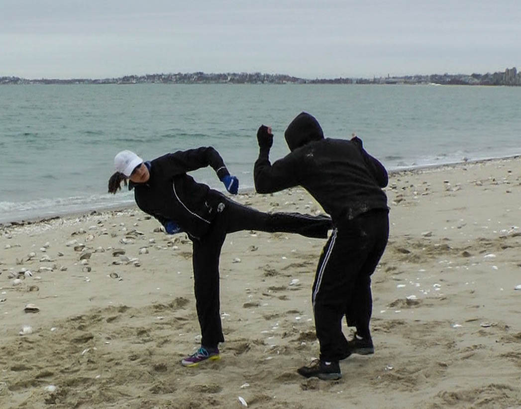 Training at Revere Beach with Alpha Krav Maga Boston