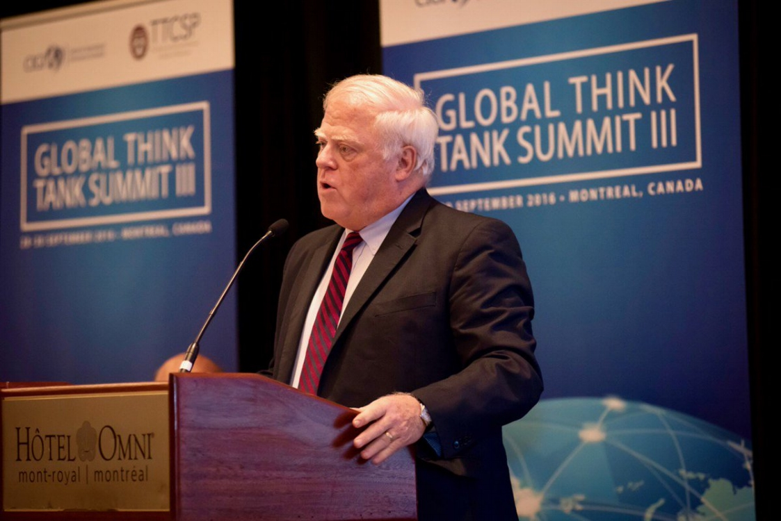 TTCSP Director, Dr. McGann, speaking at the Global Think Tank Summit in Montreal, Canada.