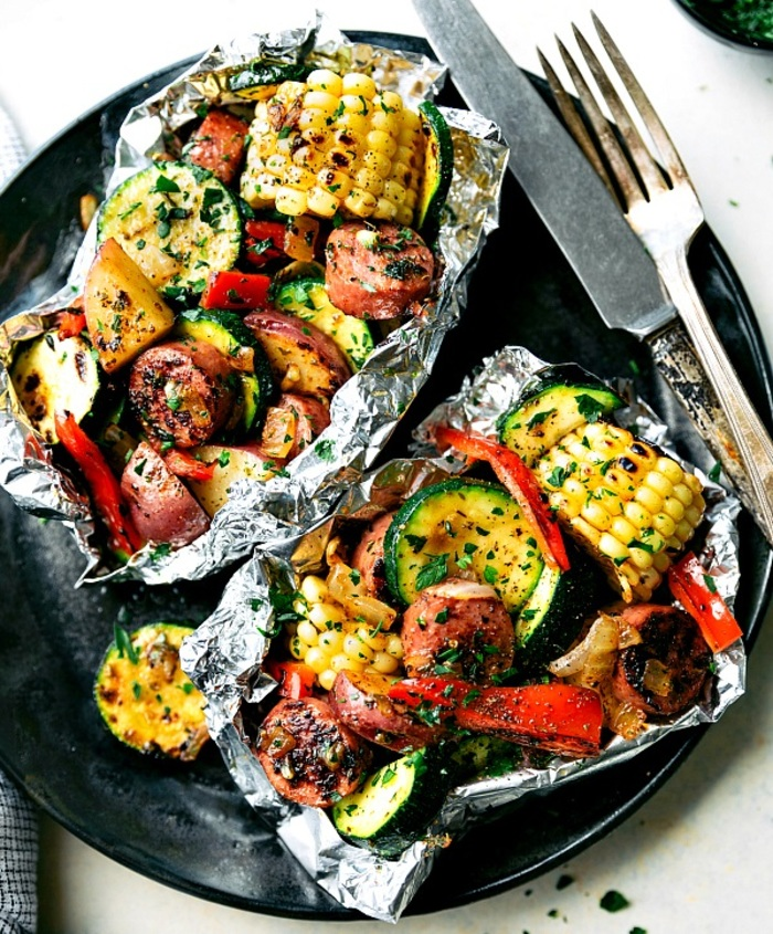 Tin Foil Sausage and Veggies Dinner -