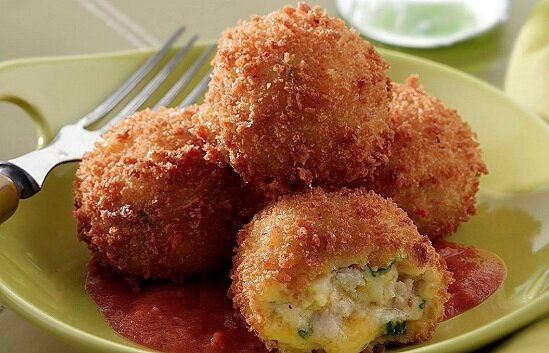 Turkey and Smoked Cheddar Croquettes -