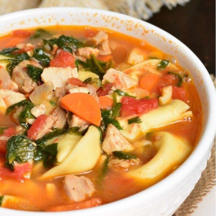 Leftover Turkey Tortellini Soup -