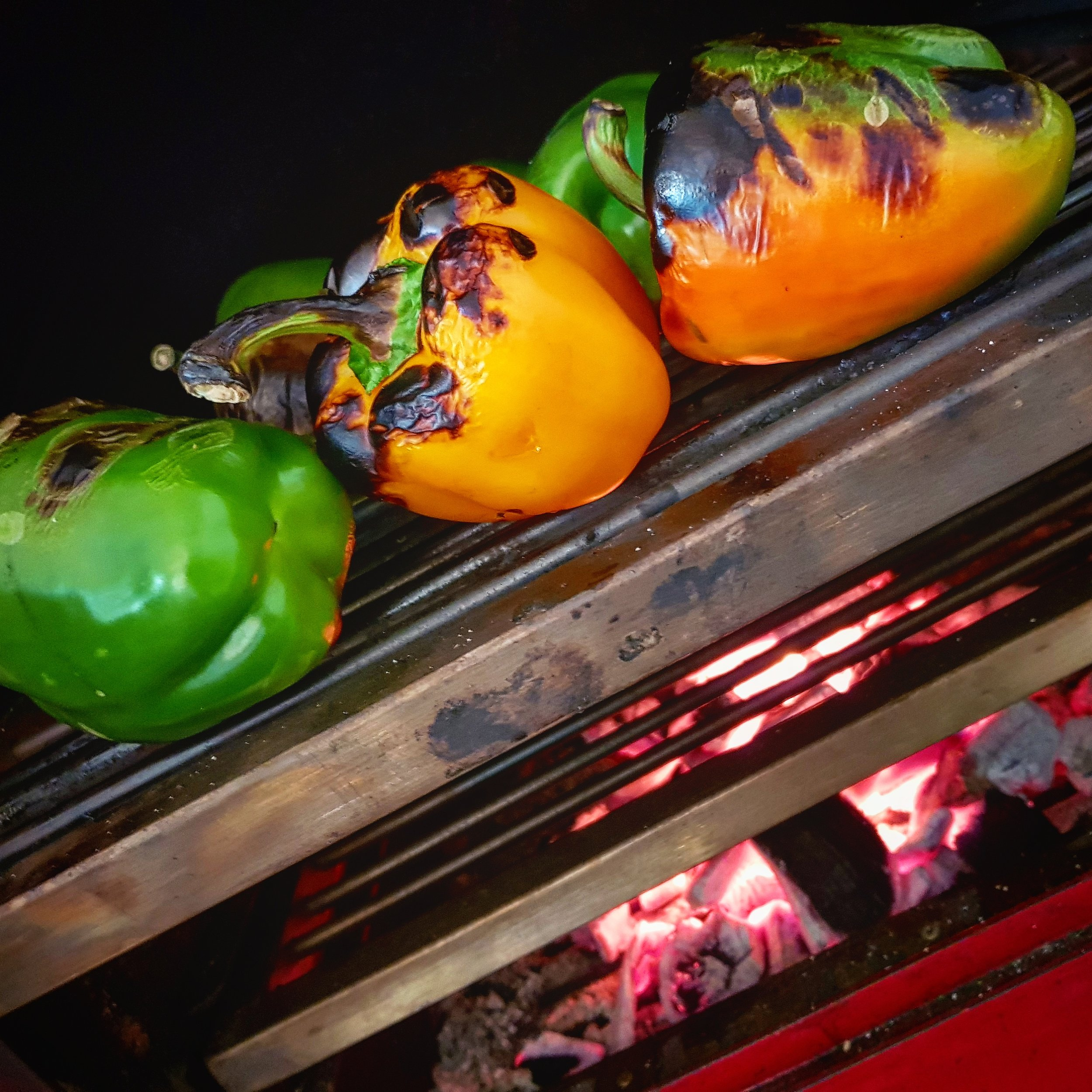 Harrison charcoal oven's smoky charred peppers add a great base-flavour