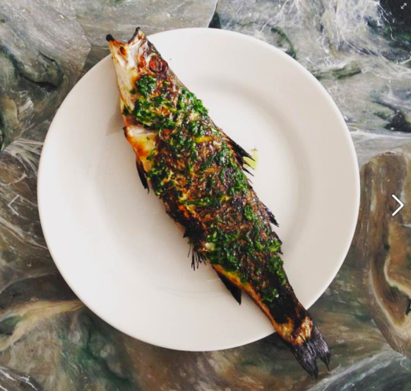 Angela's whole sea bass roasted in a Harrison Charcoal Oven