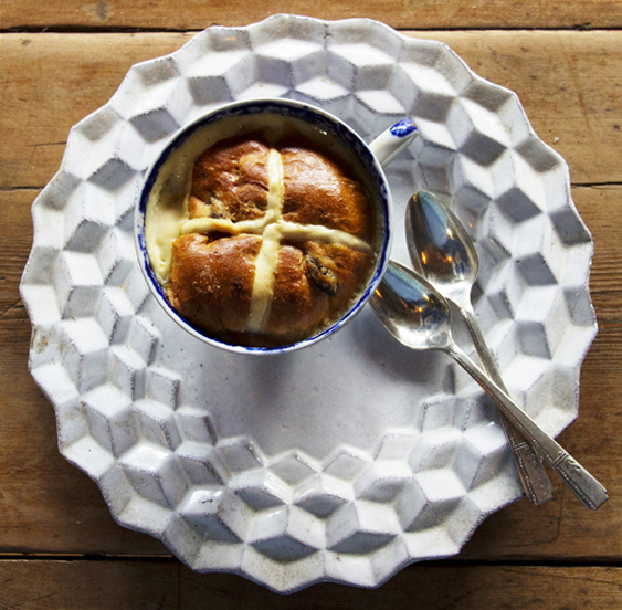 Hot Cross Bread and Butter pudding baked in a Harrison Charcoal Oven