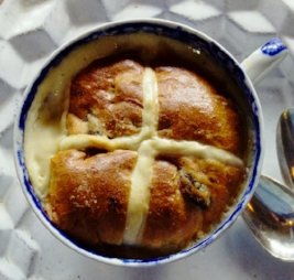 Hot cross bread and butter pudding cooked in a Harrison Charcoal Oven