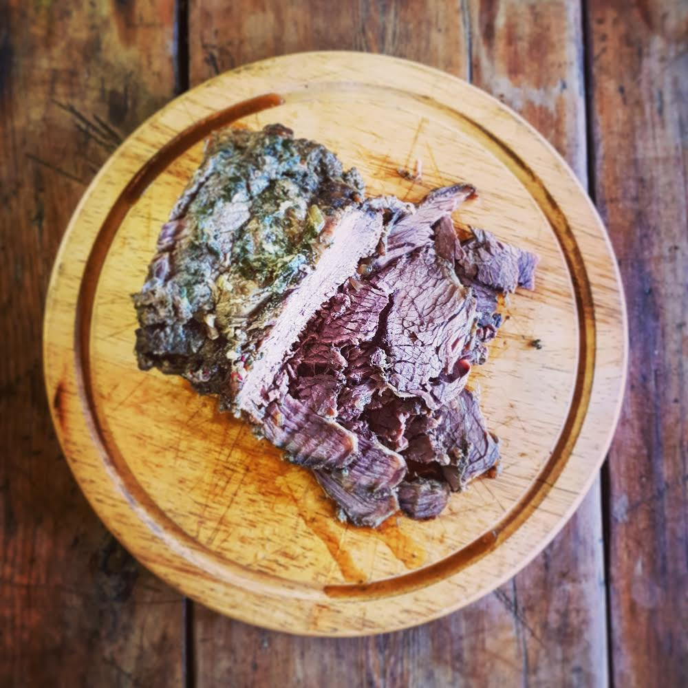 Harrison Charcoal Oven slow-cooked brisket - perfect for utilising excess heat after service.