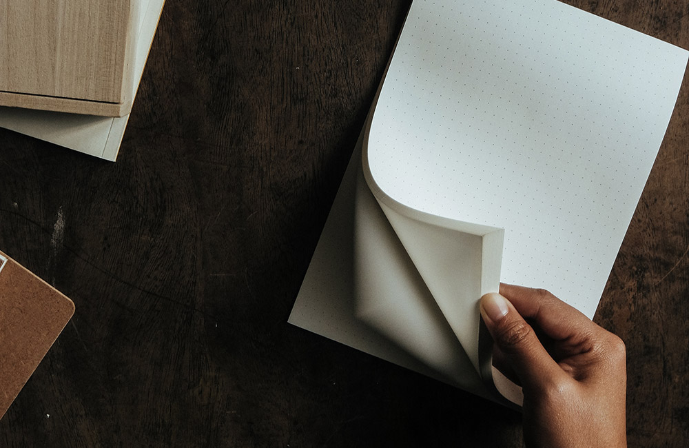 Blank pad of paper