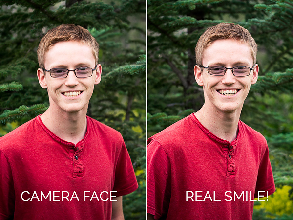 Campaign to End Camera Face - Boy with fake smile and real smile