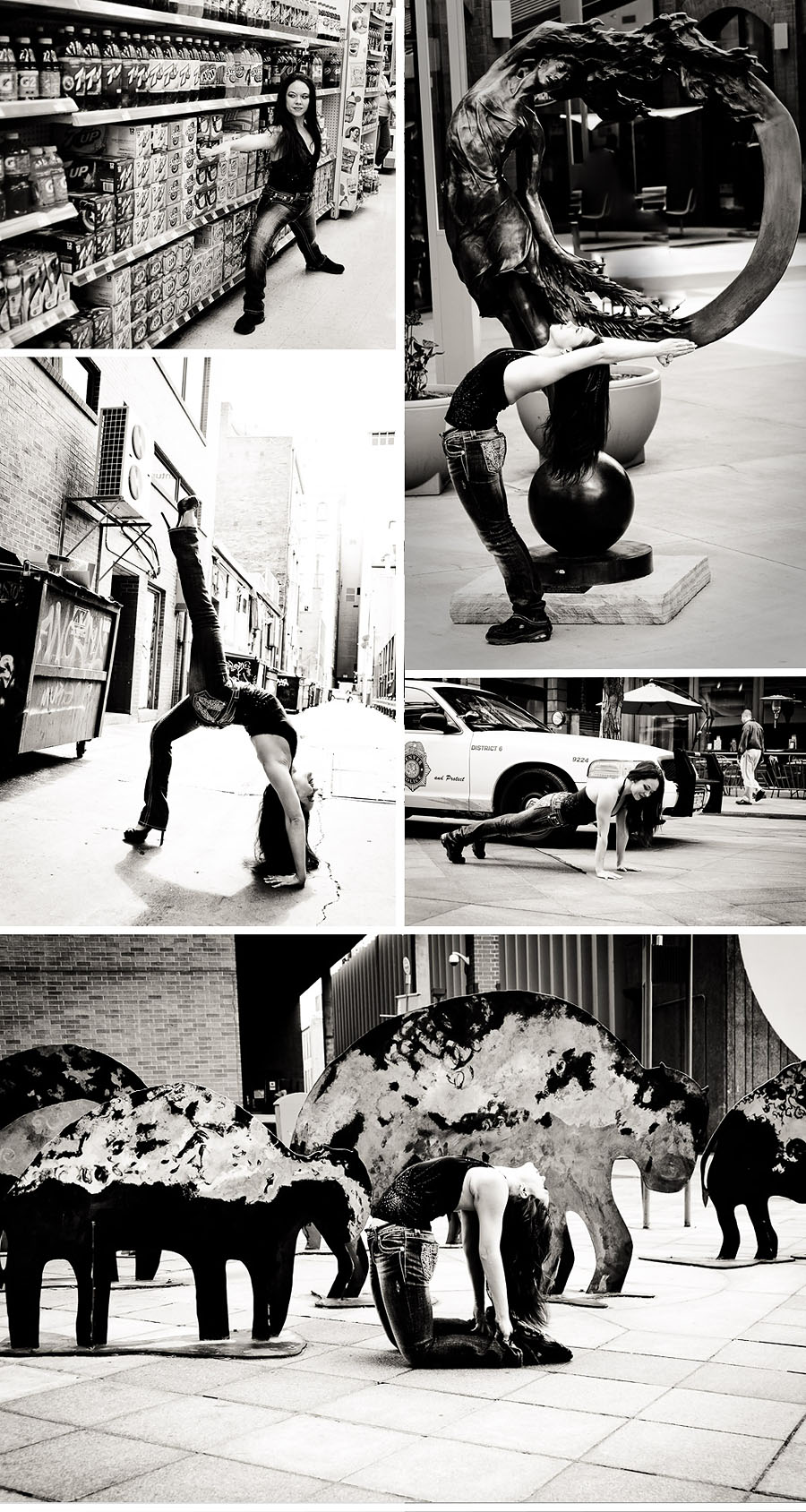 yoga in public - collage of black and white yoga poses with polic car public art in an alley