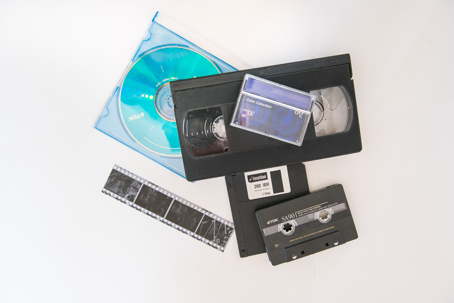 time to print your photos - picture of old media vhs flopy disk audio cassette film negative