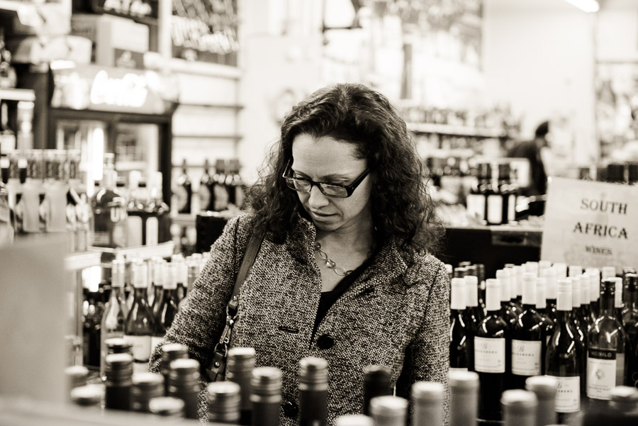 Kelly at the liquor store.