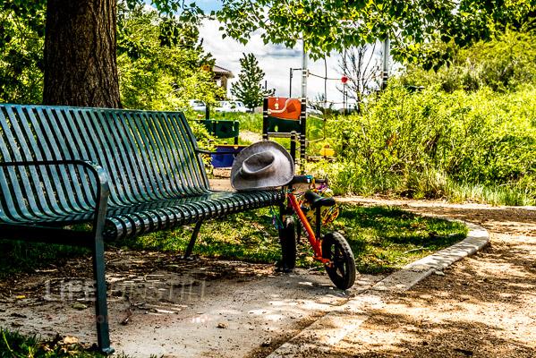 Kids bike at a small playground in Stapleton.