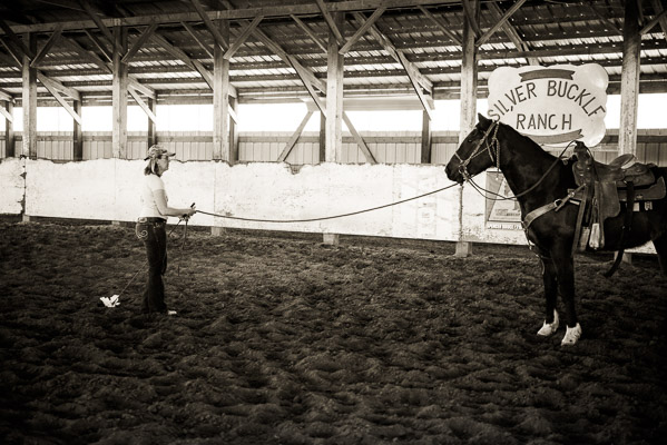 Woman with horse inside arena going through paces.