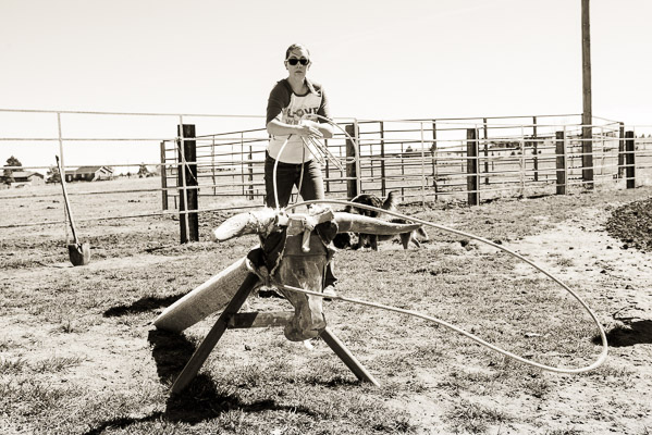 Woman roping a dummy steer