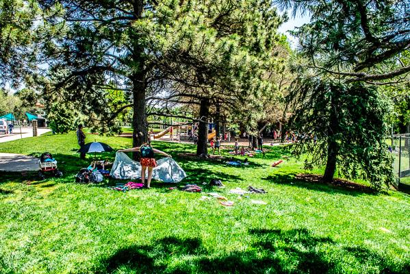 Picnicers at Congress Park.