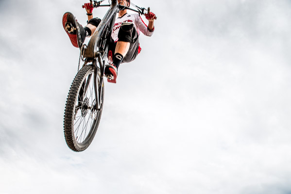 Flying over - cyclist in the air.