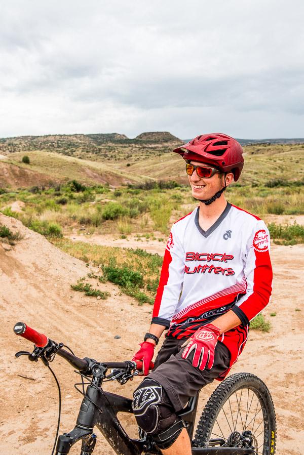 Smiling senior on a mountain bike.