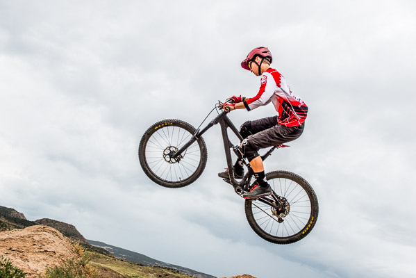 Going vertical on a mountain bike.