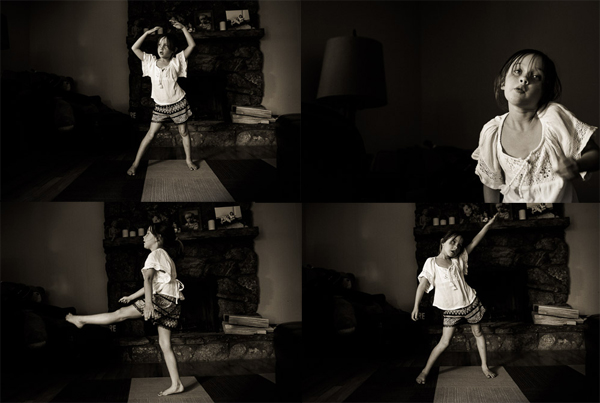 Four up photo of girl dancing in her living room.