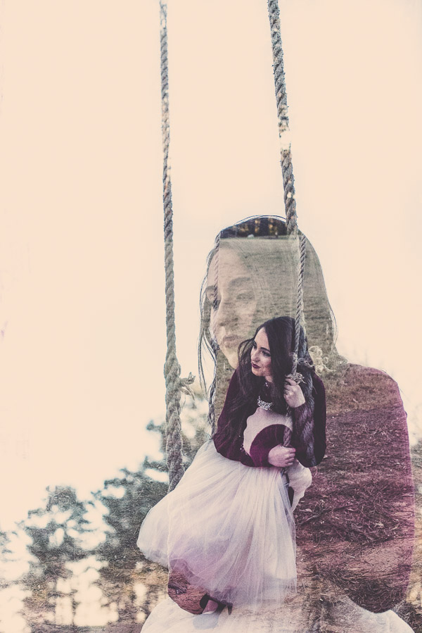 High school senior girl in Atlant on a swing double exposure