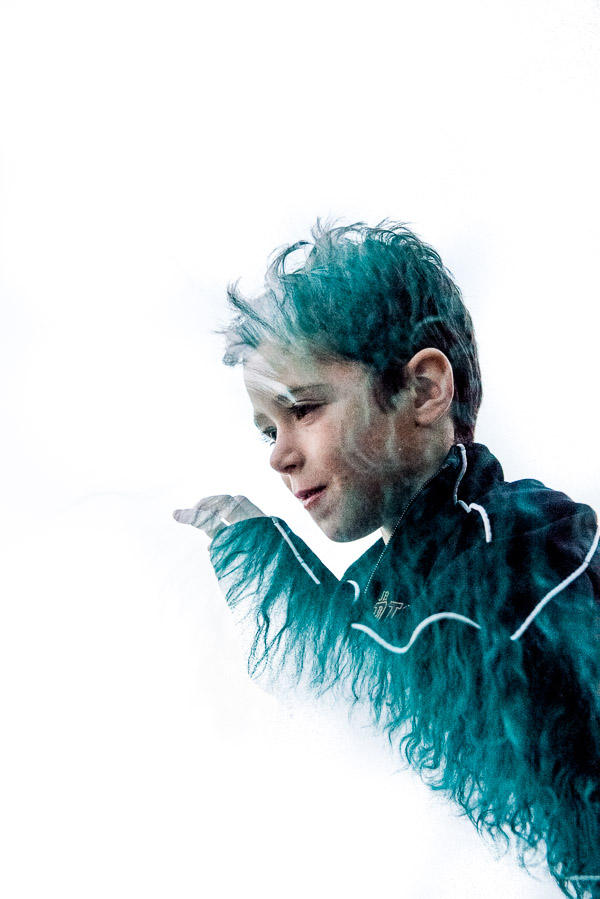 Boy with blue fur double exposure