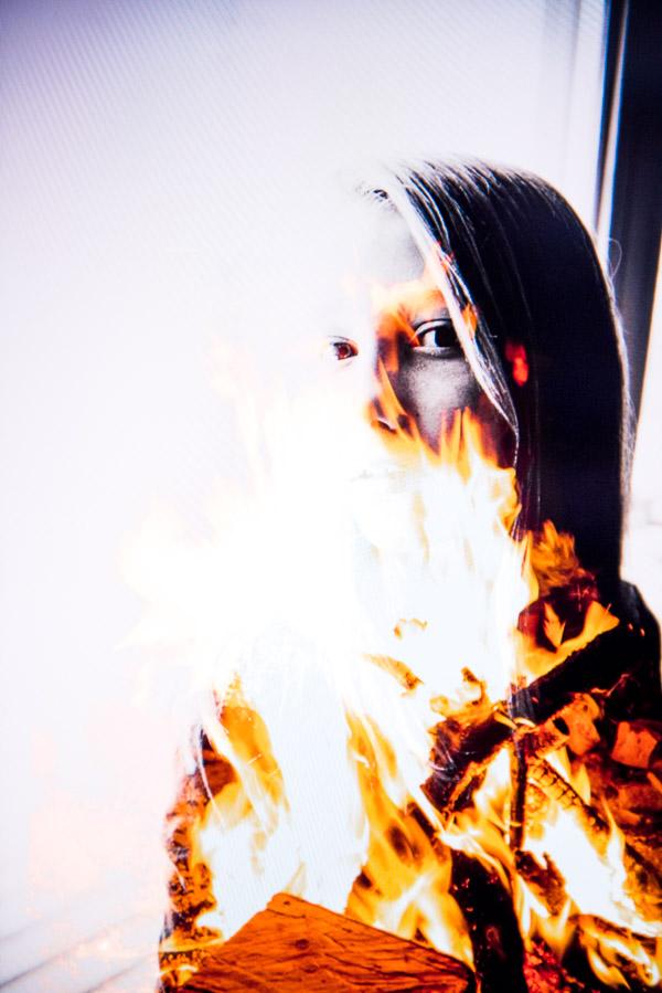 Girl on fire double exposure