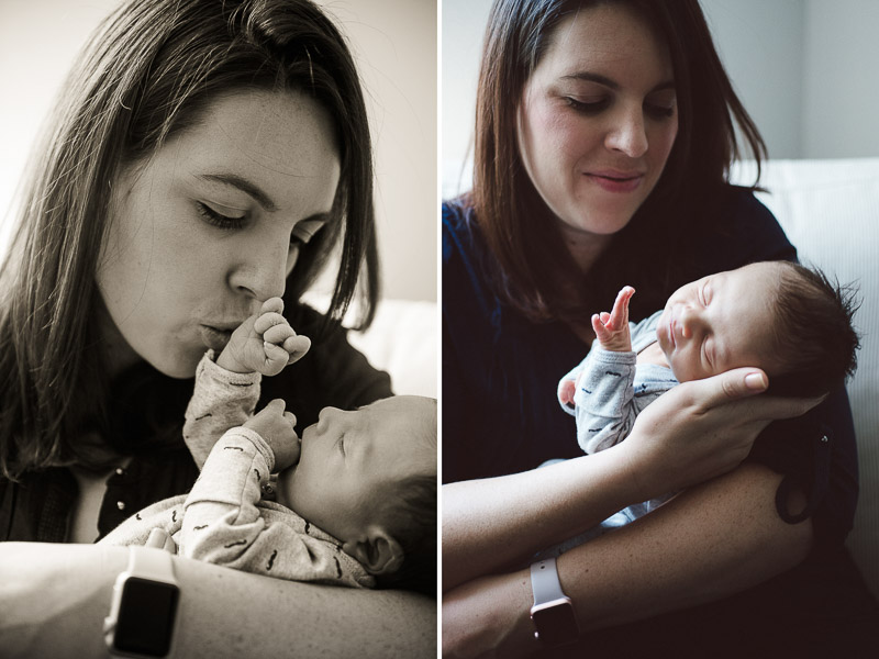 woman kissing fingers of her infant baby