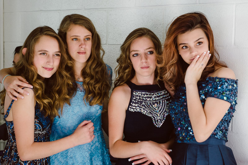eighth grade girls at continuation all dressed up