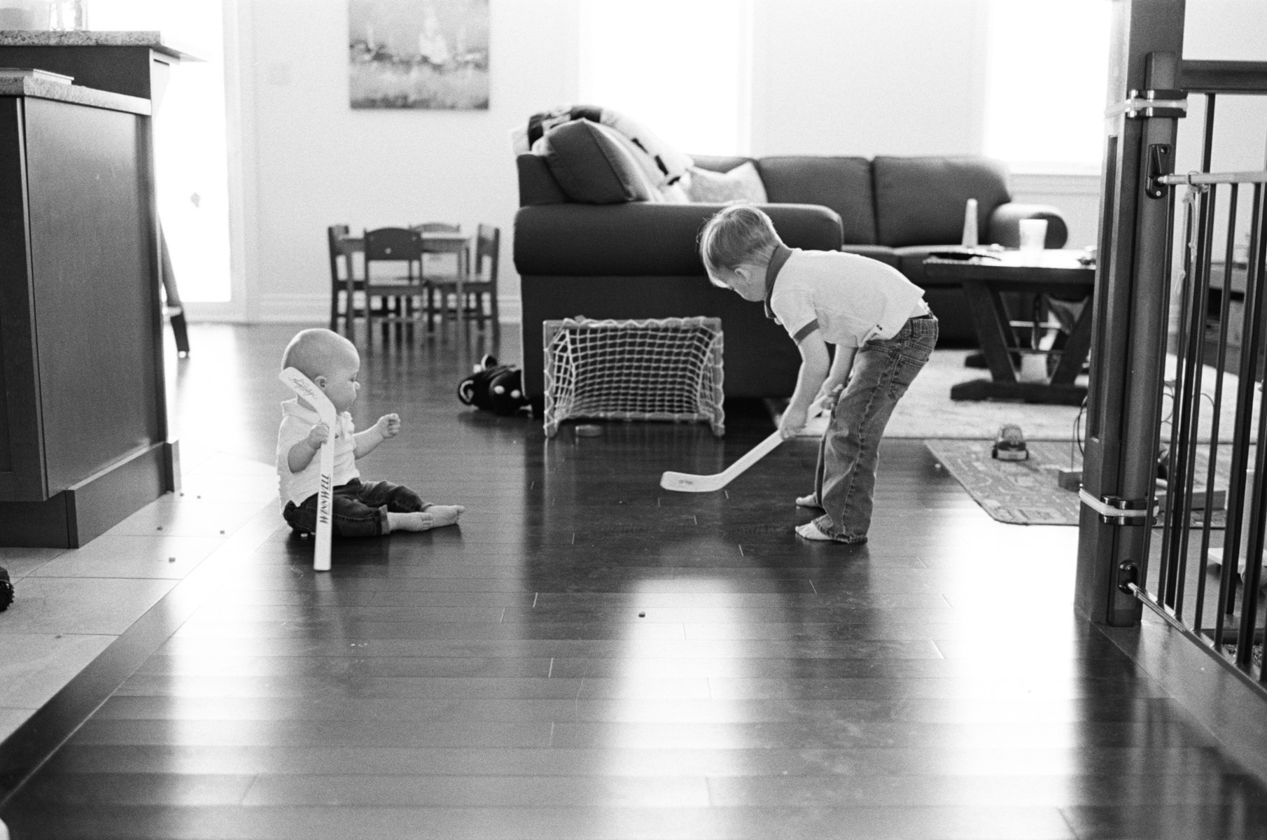 Showing your little brother hockey rules!