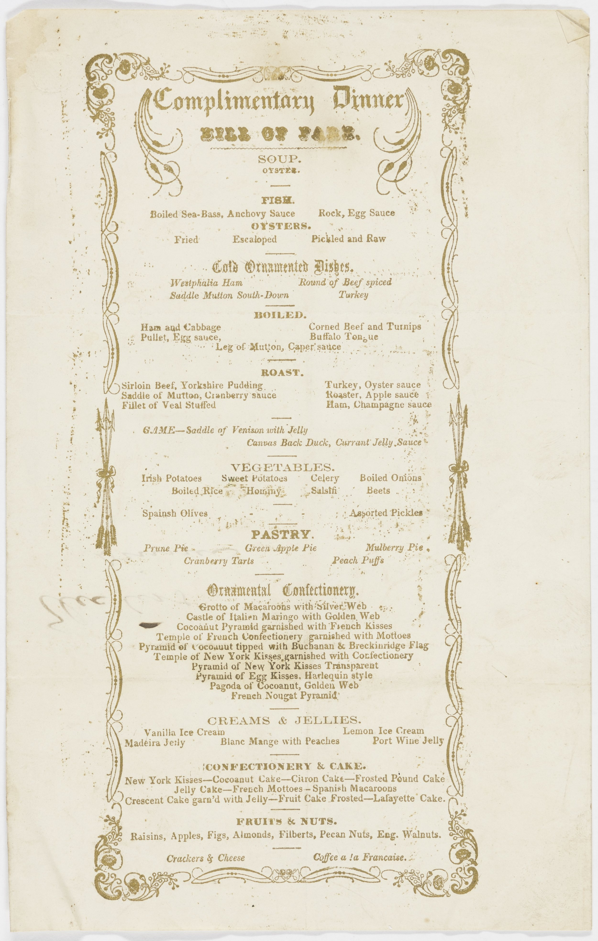 "This Ballard House & Exchange Hotel menu from December 3, 1856, shortly before John Dabney replaced Spiro Zetelle as chef and bartender, reflects the French influence on 19th-century fine dining in the United States.  Culinary historian Robert Moss has noted that Dabney, Zetelle, and other successful cooks of the era excelled through their mastery of the canon rather than through inventing new dishes.  Yet as Dabney demonstrated through his ""hail-storm"" mint juleps, creativity behind the bar could garner warm praise and much encouragement.  (Library of Virginia)    Click the image to enlarge."