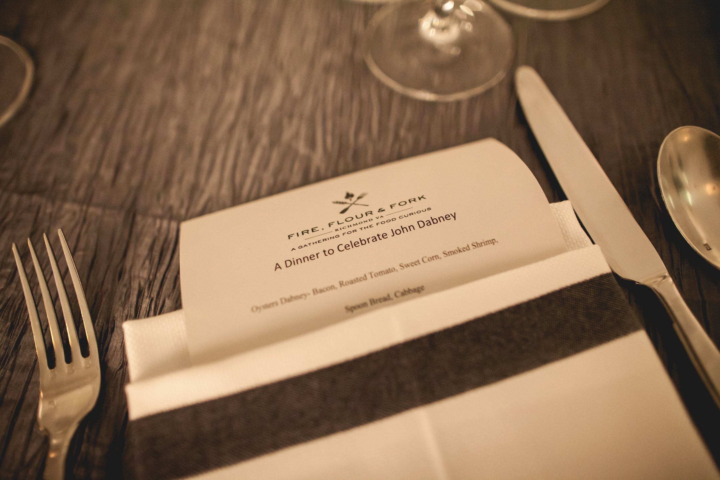 A glimpse of the menu from the first John Dabney Dinner in 2015.